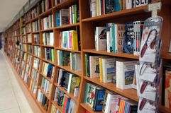 Books on display in a bookshop. Istanbul, Turkey - September 2, 2017: Books on display in a bookshop in Istanbul, Turkey Royalty Free Stock Photos
