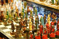 Istanbul, Turkey, September 22., 2018: Chess game with pieces representing the crusaders on a bazaar. royalty free stock photography