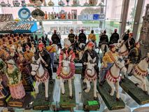 Close-up of toy soldiers officers on horses ottoman empire period at gift shop at Dolmabahce Palace royalty free stock image