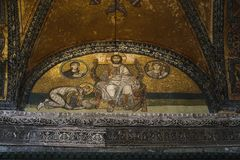 Mosaic of the lunette entrance to the Hagia Sophia, Istanbul royalty free stock photography