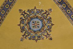 Fragment of decor ceilings in the Cathedral of Hagia Sophia, Istanbul royalty free stock images