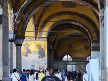 Istanbul, TURKEY, September 19, 2018. A group of tourists visiting the interior and mosaic of Hagia Sophia in Istanbul stock photo