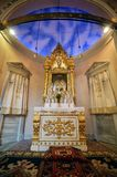 Istanbul, Turkey - September 07, 2014: Interior of Surp Takavor Armanian Orthodox church baptism room in Kadikoy, Istanbul. Built 1814 royalty free stock images