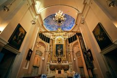 Istanbul, Turkey - September 07, 2014: Interior of Surp Takavor Armanian Orthodox church in Kadikoy, Istanbul built 1814 Stock Images