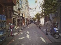 Istanbul, TURKEY - September 21 - 2018: Narrow street in the early morning of Kadikoy district royalty free stock image