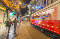 ISTANBUL, TURKEY - SEPTEMBER 13: Old tramway speeds up in Istikl Royalty Free Stock Image