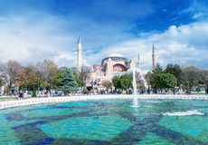 ISTANBUL, TURKEY - SEPTEMBER 14, 2014: Tourists walk in Sultanah Royalty Free Stock Photo