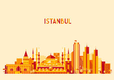 Istanbul Turkey skyline Flat design trendy vector Royalty Free Stock Images