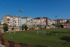 Playing soccer in Old Town Istanbul, Turkey stock photography