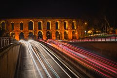 Istanbul, Turkey - 4.6.2018 : Valens Aqueduct royalty free stock photography