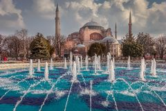 Istanbul, Turkey. View of Hagia Sophia from the fountain of Sultanahmet Park. View of Hagia Sophia from the fountain of Sultanahmet Park stock photography