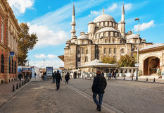 ISTANBUL , TURKEY View Yeni Cami  New Mosque one of the most famous landmarks of Istanbul City located in old town near. Stock Image