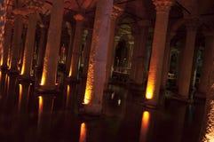 Istanbul Turkiet - basilikacistern, sjunken slott Arkivbild