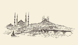Istanbul Turkiet, hamnen, inristad tappning skissar royaltyfri illustrationer