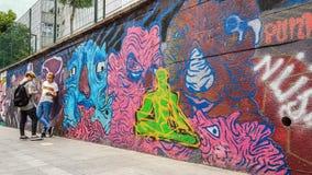 Istanbul Turkiet - Juni 02, 2017: Färgrika ståendegraffitis målade på väggen i det Kadikoy området av den Istanbul staden Arkivfoton