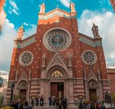 Istanbul Turkiet - 6 13 2018: Kyrka av St Anthony av Padua royaltyfria bilder