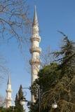 ISTANBUL TURKIET - MARS 27, 2012: Minaret av den Suleiman moskén Arkivfoton