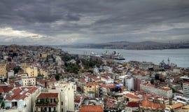 Istanbul turkish street life on a rainy autumn day. In november Stock Photos