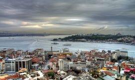 Istanbul turkish street life on a rainy autumn day Stock Photo