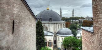 Istanbul turkish street life on a rainy autumn day. In november Royalty Free Stock Photography