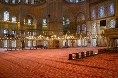 Istanbul, Turquie, le 21 avril 2015 : Intérieur de la mosquée bleue de mosquée de Sultanahmet à Istanbul, TU photo stock