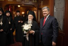 Istanbul, Turquie - 3 novembre 2018 : Patriarcat oecuménique et son patriarche oecuménique de Tout-sainteté Bartholomew au cours  photographie stock libre de droits