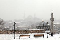 Istanbul unter Schnee Lizenzfreie Stockfotos