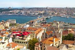 Istanbul view from above. Istanbul Galata Bridge and Goldenhorn view from above Stock Image