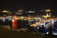 Istanbul view from above by night Royalty Free Stock Photo
