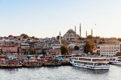 Istanbul view across the Golden Horn with the Suleymaniye Mosque stock photo