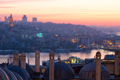 Istanbul. View of the Beyoglu and Galata Tower from the Suleymaniye Mosque at sunrise stock photos