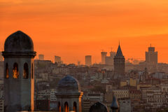 Istanbul. View of Beyoglu's region and Galata tower at sunrise, Istanbul Stock Photography
