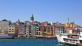 Istanbul, view from the Bosporus to the Beyoglu and Galata Tower stock footage