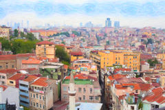 Istanbul view from Galata bridge Stock Image