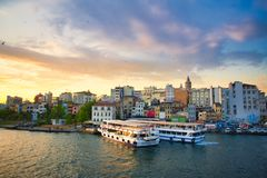 Istanbul view from the Galata bridge royalty free stock photo