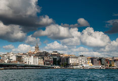 Istanbul. View of the Galata tower from Eminön Royalty Free Stock Photos