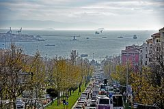 Istanbul view. With  buildings, sea, Leanders Tower, ships and traffic jams Stock Photography