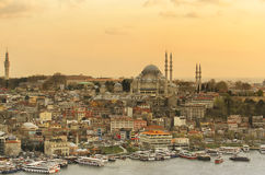 Istanbul, the view of the old town. At the sunset Stock Images