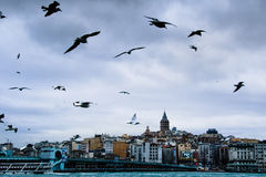 Istanbul view over the bridge to galata Stock Photos