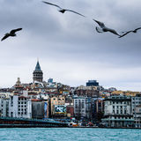 Istanbul view over the bridge to galata Royalty Free Stock Photography