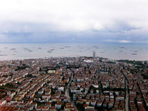 Istanbul. View from the plane on the horizon fishing boats Royalty Free Stock Photography
