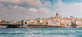 Istanbul, view from the sea. To Galata tower and city stock photos