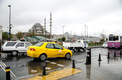 Istanbul views. A hard traffic in the center of Istanbul. Taxis of Istanbul city. Hard traffic royalty free stock image