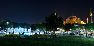 Istanbul views. Mosque Aya Sophia in the night Royalty Free Stock Images