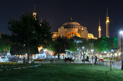 Istanbul views. Mosque Aya Sophia in the night Royalty Free Stock Photo