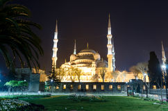 Istanbul views. Mosque Sultanahmet in the night Royalty Free Stock Photo