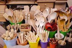 Istanbul, wooden utensils for sale at the bazaar Tahtakale Royalty Free Stock Photos