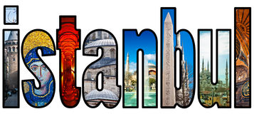 Istanbul word montage. A montage of images showing some of the sites and landmarks of Istanbul in Turkey making the word of the city Royalty Free Stock Photo