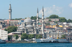 Istanbul and Yeni Mosque view Royalty Free Stock Images