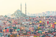 Istanbuls dense residential area with the Suleymaniye Mosque Stock Image